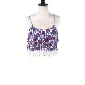 Forever 21 Cami Festival Floral Crop Top